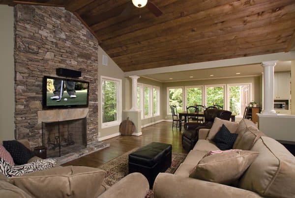 Deck addition, family room and dining area, vaulted wood ceiling, fireplace, hardwood floor