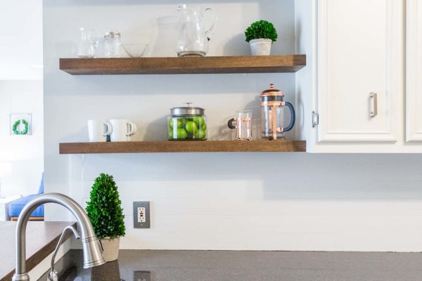 Floating shelves are and attractive option to create more storage.