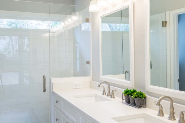 Double sinks in this master bath addition.
