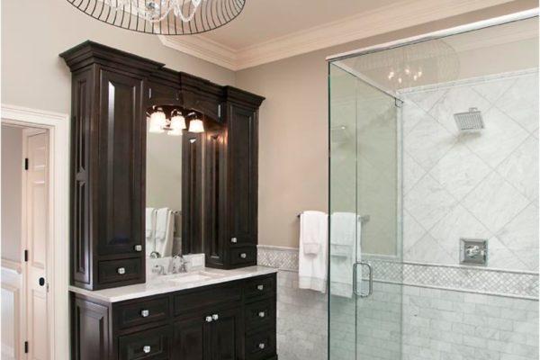 right vanity, shower