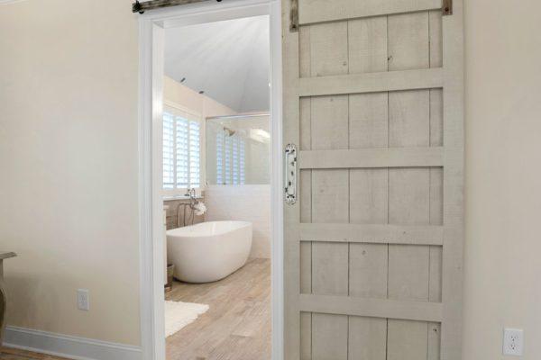 custom sliding barn door for master bathroom
