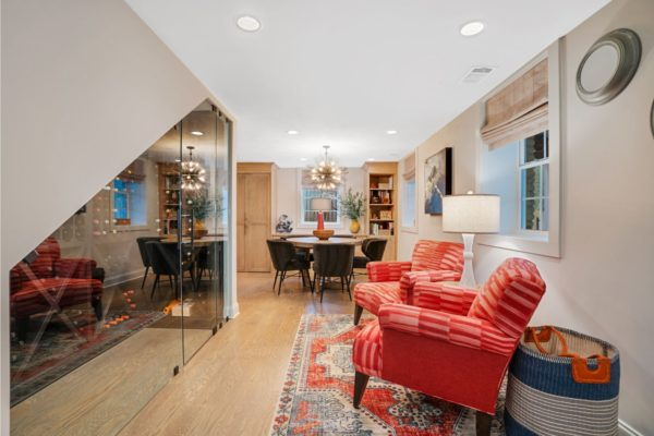Every square inch of space utilized in this basement finish project.