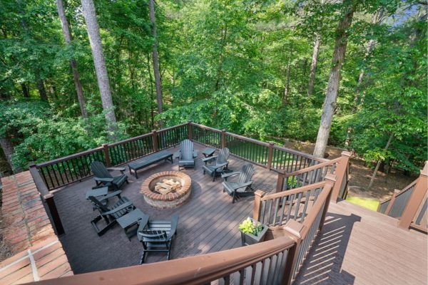 custom deck with trex decking and handrails