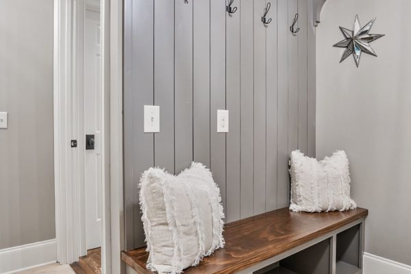 custom mudroom bench with vertical shiplap