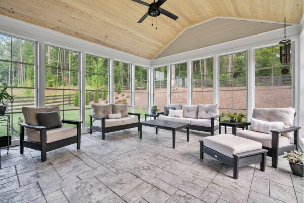 Enclosed 3 seasons room, or full screen porch? Your choice with this addition.