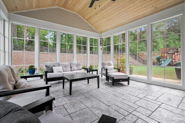 Views abound from this newly completed 3 seasons room addition.