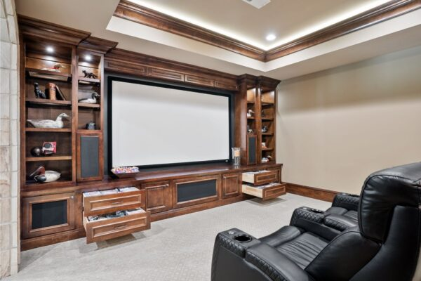 custom media room cabinetry
