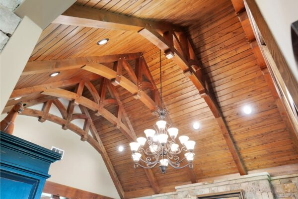 timber frame with tongue and groove ceiling