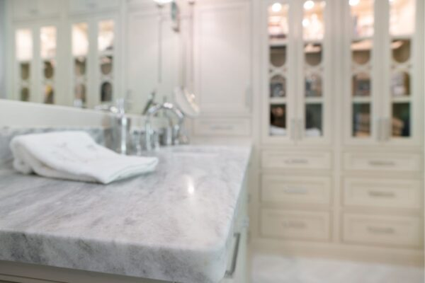 Master bath with marble countertops.