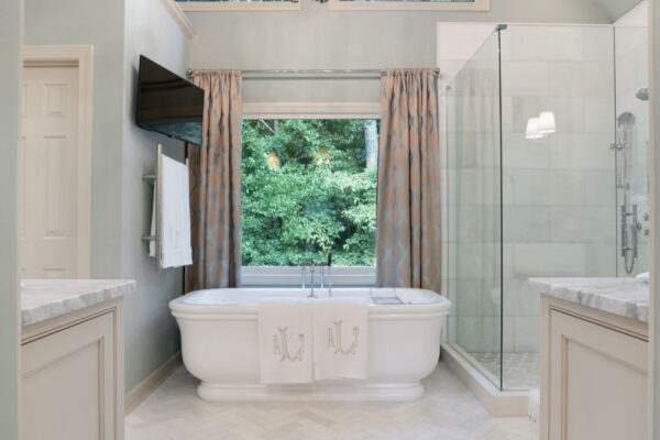 Newly remodeled master bath with cathedral ceiling.