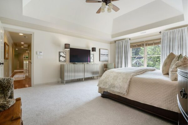 New paint and carpet in this remodeled master bedroom.