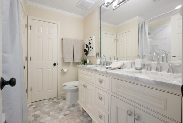 New vanity cabinets with double sinks.