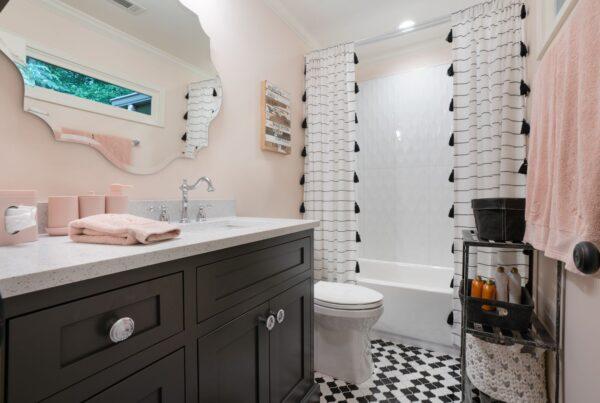Beautiful vanity cabinet with quartz countertop.