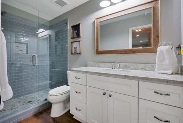 Newly remodeled basement bathroom.