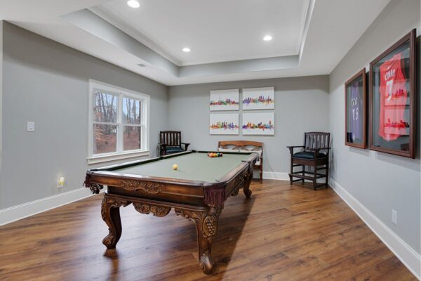 Furniture style pool table creates a beautiful, and fun space to entertain.
